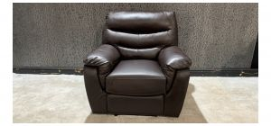 Brown Bonded Leather Armchair Manual Recliner - Left Arm Damage - Fully Functional (see images) Ex-Display Showroom Model 47163