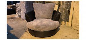 Black And Grey Jumbo Cord Fabric Swivel Chair - Ex-Display Showroom Model 47166