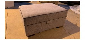 Large Grey Fabric Footstool With Storage Compartment - Ex-Display Showroom Model 47170