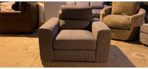 Pisa Grey Fabric Armchair With Chrome Legs Ex-Display Showroom Model 47172