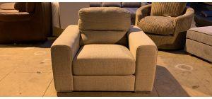Pisa Beige Fabric Armchair With Chrome Legs Ex-Display Showroom Model 47174