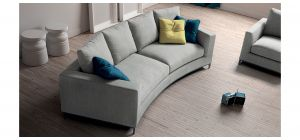 Albert Grey Fabric Curved 4 + 1 Sofa Set With Chrome Legs Newtrend Available In A Range Of Leathers And Colours 10 Yr Frame 10 Yr Pocket Sprung 5 Yr Foam Warranty