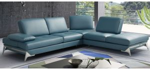 Andrew Turquoise RHF Leather Corner Sofa With Chrome Legs Newtrend Available In A Range Of Leathers And Colours 10 Yr Frame 10 Yr Pocket Sprung 5 Yr Foam Warranty
