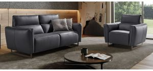 Baccarat Dark Grey Leather 3 + 1 Sofa Set With Chrome Legs Newtrend Available In A Range Of Leathers And Colours 10 Yr Frame 10 Yr Pocket Sprung 5 Yr Foam Warranty