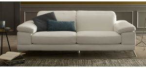 Elodie White Leather 3 + 2 Sofa Set With Chrome Legs Newtrend Available In A Range Of Leathers And Colours 10 Yr Frame 10 Yr Pocket Sprung 5 Yr Foam Warranty