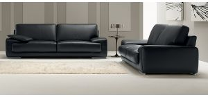 Evita Black Leather 3 + 2 Sofa Set With Chrome Legs Newtrend Available In A Range Of Leathers And Colours 10 Yr Frame 10 Yr Pocket Sprung 5 Yr Foam Warranty