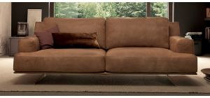 Foster Brown Suede 3 + 2 Sofa Set With Chrome Legs Newtrend Available In A Range Of Leathers And Colours 10 Yr Frame 10 Yr Pocket Sprung 5 Yr Foam Warranty