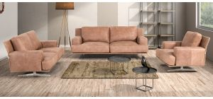 Foster Camel Suede 3 + 2 + 1 Sofa Set With Chrome Legs Newtrend Available In A Range Of Leathers And Colours 10 Yr Frame 10 Yr Pocket Sprung 5 Yr Foam Warranty