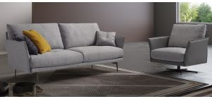 Hamilton Grey Fabric 3 Seater Sofa With Swivel Chair Newtrend Available In A Range Of Leathers And Colours 10 Yr Frame 10 Yr Pocket Sprung 5 Yr Foam Warranty