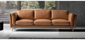 Jenny Leather Tan 3 + 2 Sofa Set With Chrome Legs Newtrend Available In A Range Of Leathers And Colours 10 Yr Frame 10 Yr Pocket Sprung 5 Yr Foam Warranty