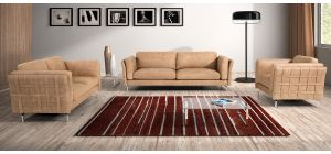 Jenny Camel Leather 3 + 2 + 1 Sofa Set With Chrome Legs Newtrend Available In A Range Of Leathers And Colours 10 Yr Frame 10 Yr Pocket Sprung 5 Yr Foam Warranty
