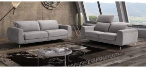 Morgana Grey Suede 3 + 2 Electric Recliner Sofas With Chrome Legs Newtrend Available In A Range Of Leathers And Colours 10 Yr Frame 10 Yr Pocket Sprung 5 Yr Foam Warranty