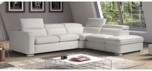 Vertigo White RHF Leather Corner With Adjustable Headrests And Storage Compartment Newtrend Available In A Range Of Leathers And Colours 10 Yr Frame 10 Yr Pocket Sprung 5 Yr Foam Warranty