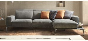 Villeneuve Grey Electric Suede Chaise With Wooden Shelf And Chrome Legs Newtrend Available In A Range Of Leathers And Colours 10 Yr Frame 10 Yr Pocket Sprung 5 Yr Foam Warranty