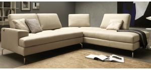 Voyager Cream RHF Fabric Corner With Adjustable Seating And Chrome Legs Newtrend Available In A Range Of Leathers And Colours 10 Yr Frame 10 Yr Pocket Sprung 5 Yr Foam Warranty