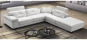 Record White RHF Leather Corner Sofa With Adjustable Headrests Newtrend Available In A Range Of Leathers And Colours 10 Yr Frame 10 Yr Pocket Sprung 5 Yr Foam Warranty