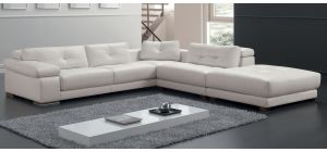 Santer White RHF Leather Corner Sofa With Adjustable Headrests And Wooden Legs Newtrend Available In A Range Of Leathers And Colours 10 Yr Frame 10 Yr Pocket Sprung 5 Yr Foam Warranty