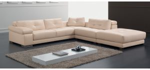 Santer Peach RHF Leather Corner Sofa With Adjustable Headrests And Wooden Legs Newtrend Available In A Range Of Leathers And Colours 10 Yr Frame 10 Yr Pocket Sprung 5 Yr Foam Warranty