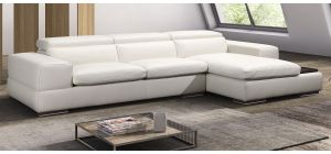 Sensation White RHF Leather Corner Sofa With Adjustable Headrests And Wooden Shelf Newtrend Available In A Range Of Leathers And Colours 10 Yr Frame 10 Yr Pocket Sprung 5 Yr Foam Warranty