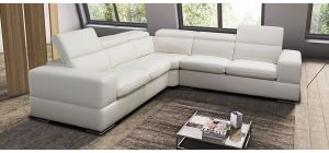 Sensation White 2C2 Leather Corner Sofa With Wooden Legs And Adjustable Headrests Newtrend Available In A Range Of Leathers And Colours 10 Yr Frame 10 Yr Pocket Sprung 5 Yr Foam Warranty