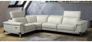 Sydney Ivory LHF Leather Electric Corner With Adjustable Headrests And Chrome Legs Newtrend Available In A Range Of Leathers And Colours 10 Yr Frame 10 Yr Pocket Sprung 5 Yr Foam Warranty