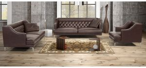 Ulysses Brown Leather 3 + 2 + 1 Sofa Set With Chrome Legs Newtrend Available In A Range Of Leathers And Colours 10 Yr Frame 10 Yr Pocket Sprung 5 Yr Foam Warranty