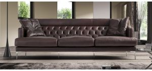 Ulysses Brown Leather Large (3 seat) + 2 Sofa Set With Chrome Legs Newtrend Available In A Range Of Leathers And Colours 10 Yr Frame 10 Yr Pocket Sprung 5 Yr Foam Warranty