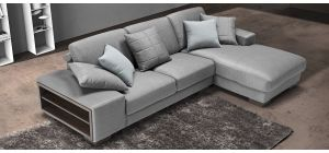 Arrone Silver RHF Fabric Corner Sofa With Side Storage And Wooden Legs Newtrend Available In A Range Of Leathers And Colours 10 Yr Frame 10 Yr Pocket Sprung 5 Yr Foam Warranty