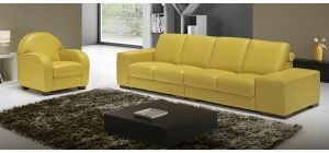 Arrone Yellow Leather 4 + 1 Sofa Set With Wooden Legs Newtrend Available In A Range Of Leathers And Colours 10 Yr Frame 10 Yr Pocket Sprung 5 Yr Foam Warranty