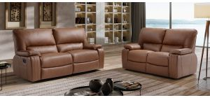 Aldebaran Brown Semi-Aniline Leather 3 + 2 Electric Recliners Newtrend Available In A Range Of Leathers And Colours 10 Yr Frame 10 Yr Pocket Sprung 5 Yr Foam Warranty