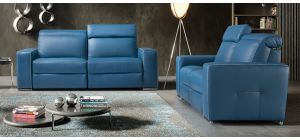 Decor Blue Semi-Aniline Leather 3 + 2 Electric Recliners With Adjustable Headrests And Chrome Legs Newtrend Available In A Range Of Leathers And Colours 10 Yr Frame 10 Yr Pocket Sprung 5 Yr Foam Warranty