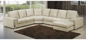 Eghoiste Cream Semi-Aniline Large Leather Corner Sofa With Chaise And Chrome Legs Newtrend Available In A Range Of Leathers And Colours 10 Yr Frame 10 Yr Pocket Sprung 5 Yr Foam Warranty
