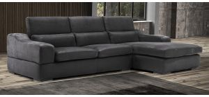 Emotion Black RHF Suede Corner Chaise With Adjustable Headrests And Wooden Legs Newtrend Available In A Range Of Leathers And Colours 10 Yr Frame 10 Yr Pocket Sprung 5 Yr Foam Warranty