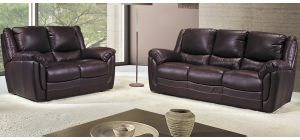 Fedra Brown Leather 3 + 2 Sofa Set With Wooden Legs Newtrend Available In A Range Of Leathers And Colours 10 Yr Frame 10 Yr Pocket Sprung 5 Yr Foam Warranty