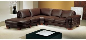 Megane Brown LHF Semi-Aniline Leather 5 Seat Corner Sofa With Wooden Legs Newtrend Available In A Range Of Leathers And Colours 10 Yr Frame 10 Yr Pocket Sprung 5 Yr Foam Warranty