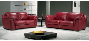 Minuetto Red Leather 3 + 2 Sofa Set With Wooden Legs Newtrend Available In A Range Of Leathers And Colours 10 Yr Frame 10 Yr Pocket Sprung 5 Yr Foam Warranty