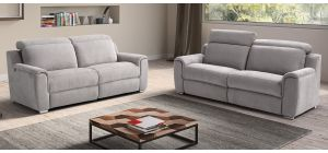Nicolas Grey Fabric 3 + 2 Sofa Set Electric Recliner With Chrome Legs Adjustable Headrests Newtrend Available In A Range Of Leathers And Colours 10 Yr Frame 10 Yr Pocket Sprung 5 Yr Foam Warranty