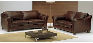 Piccadilly Dark Brown Leather 3 + 2 Sofa Set With Wooden Legs Newtrend Available In A Range Of Leathers And Colours 10 Yr Frame 10 Yr Pocket Sprung 5 Yr Foam Warranty