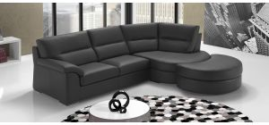 Zafferano Black RHF Leather Corner Sofa With Wooden Legs Newtrend Available In A Range Of Leathers And Colours 10 Yr Frame 10 Yr Pocket Sprung 5 Yr Foam Warranty