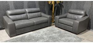 Venezia Grey Leather 3 + Loveseat Sofa Set Sisi Italia Semi-Aniline With Wooden Legs Ex-Display Showroom Model 47320