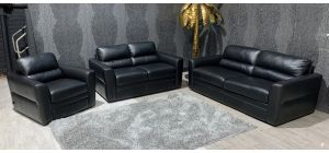 Black Leather 3 + 2 + 1 Sofa Set Sisi Italia Semi-Aniline Ex-Display Showroom Model 47322