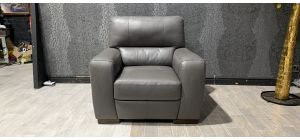 Lucca Grey Leather Armchair Sisi Italia Semi-Aniline With Wooden Legs Ex-Display Showroom Model 47326