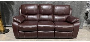 Belgravia leathaire Ox-Blood Bonded Leather Large Manual Recliner Sofa With Contrast Stitching Ex-Display Showroom Model 47327