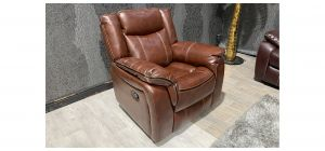 Brooklyn Tan Bonded Leather Manual Recliner Armchair With Contrast Stitching Ex-Display Showroom Model 47328