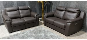 Brown Italian Leather 2 + 2 Electric Recliner Sofa Set With USB Ports Ex-Display Showroom Model 47330