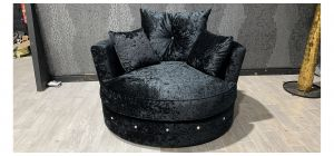 Large Black Fabric Studded Swivel Chair Ex-Display Showroom Model 47331
