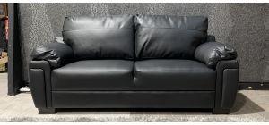 Black Bonded Large Leather Sofa Ex-Display Showroom Model 47332