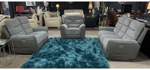Dallas Grey Fabric 3 + 2 + 1 Sofa Set Electric Recliners