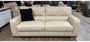 Lucca Cream Large 4 Seater Leather Sofa Sisi Italia Semi-Aniline With Wooden Legs Ex-Display Showroom Model 47342