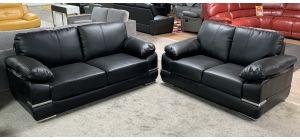 Manilla Black Bonded Leather 3 + 2 Sofa Set With Chrome Legs Ex-Display Showroom Model 47344